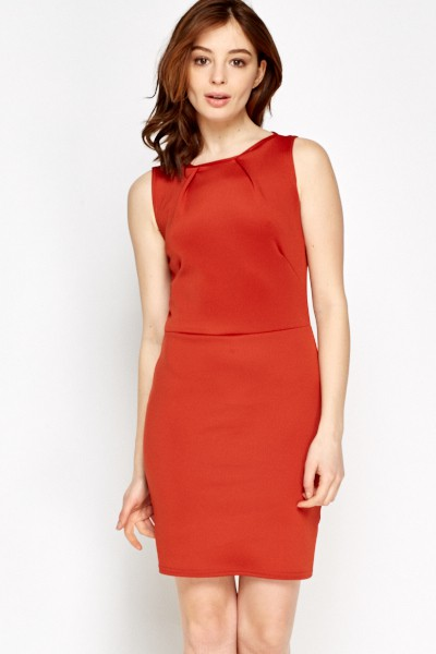 Bodycon Basic Dress XS / Seide / Rot